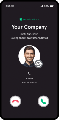 example of branded call display on phone