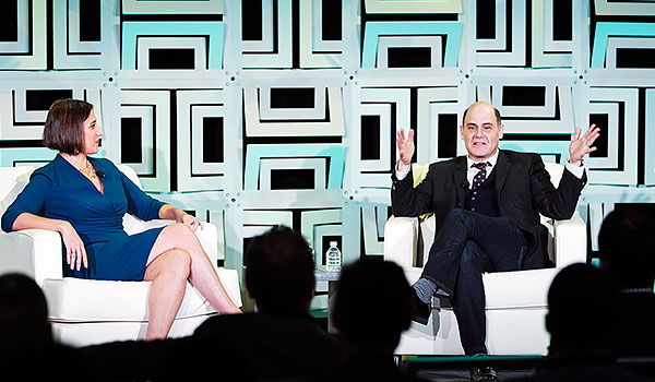 photo of former cmo lisa hook with matthew weiner in panel discussion