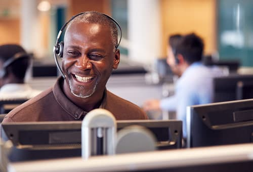 call center worker smiling